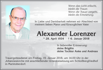 Alexander Lorenzer * 28. April 1934       † 6. Januar 2018