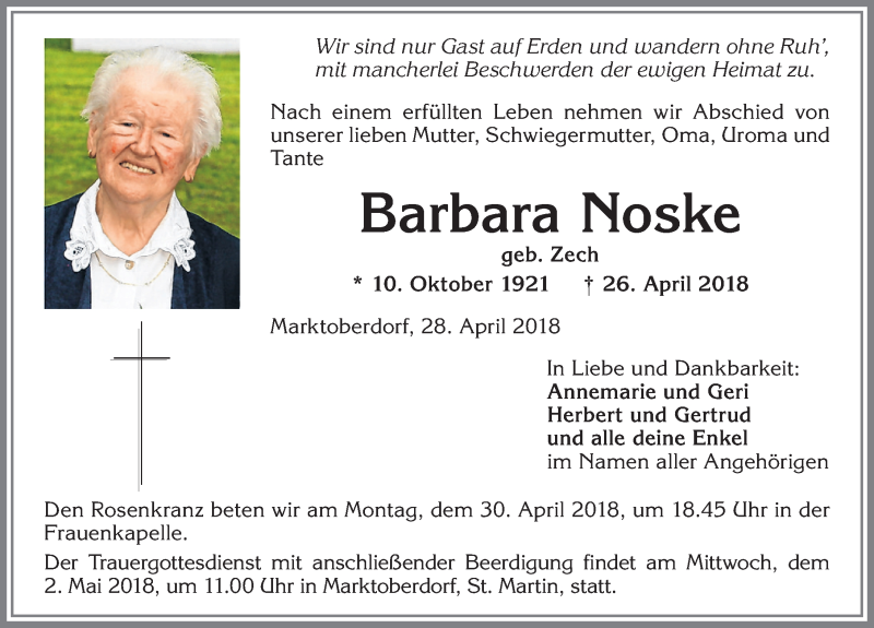 Barbara Noske * 10. Okt. 1921 † 26. April 2018