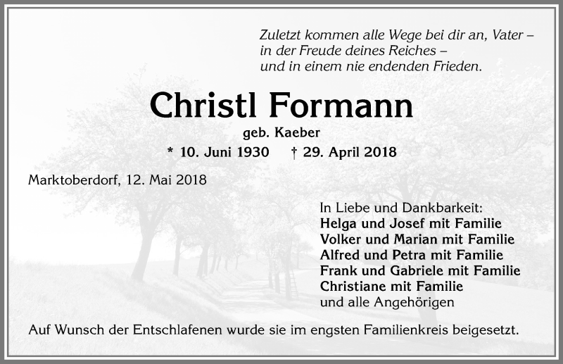 Christl Formann * 10. Juni 1930 † 29. April 2018