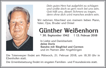 Günther Weißenhorn *30. September 1924 – † 13. Februar 2018
