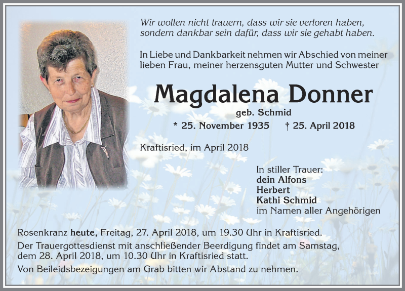 Magdalena Donner * 25. Nov. 1935 † 25. April 2018