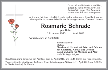 Rosmarie Schrade * 2. Jan. 1943 † 1. April 2018