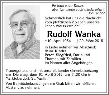 Rudolf Wanka *10. April 1934 † 22. März 2018