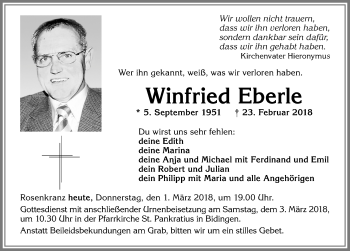 Winfried Eberle* 5. September 1951 –  † 23. Februar 2018