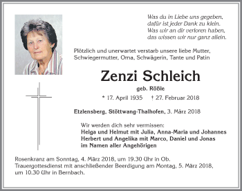 Zenzi Schleich *17. April 1935 † 27. Febr. 2018