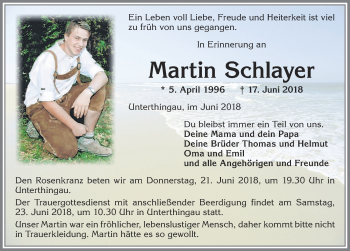 Martin Schlayer * 5. April 1996 † 17. Juni 2018