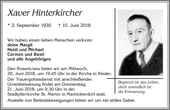 Xaver Hinterkircher * 3. September 1930 –  † 10. Juni 2018