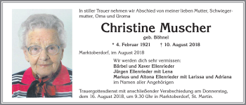 Christine Muscher * 4. Febr. 1921 † 10. August 2018