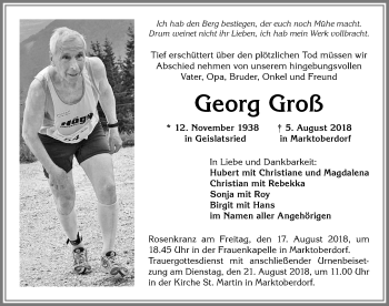 Georg Groß * 12. Nov. 1938 † 5. August 2018