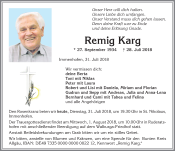 Remig Karg * 27. Sept. 1934   † 28. Juli 2018
