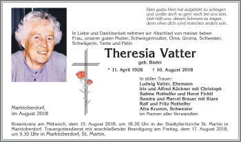 Theresia Vatter * 11. April 1926 † 10. August 2018