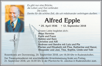 Alfred Epple * 25. April 1936 + 12. September 2018