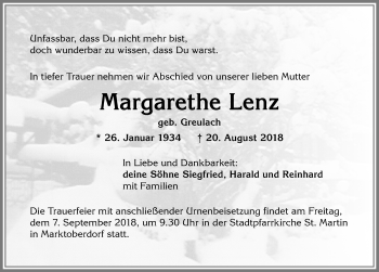 Margarethe Lenz * 26. Januar 1934 † 20. August 2018