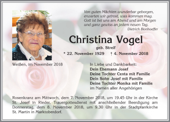 Christina Vogel * 22. November 1929 † 4. November 2018