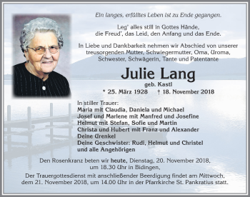 Julie Lang * 25. März 1928 † 18. November 2018
