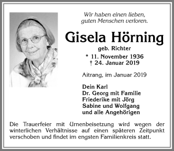 Gisela Hörning * 11. November 1936 † 24. Januar 2019