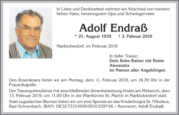 Adolf Endraß * 21. August 1935 † 3. Februar 2019