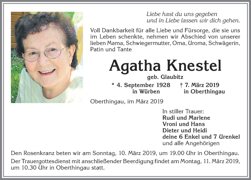 Agatha Knestel * 4. September 1928 † 7. März 2019