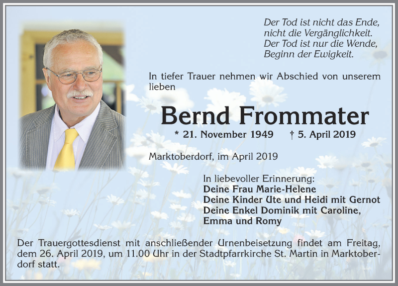 Bernd Frommater * 21. Nov. 1949 †5. April 2019