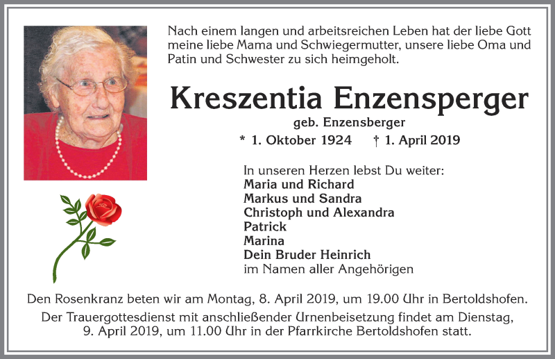 Kreszentia Enzensperger * 1. Okt. 1924 † 1. April 2019
