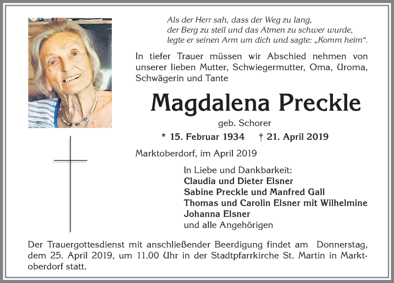 Magdalena Preckle * 15. Februar 1934 † 21. April 2019