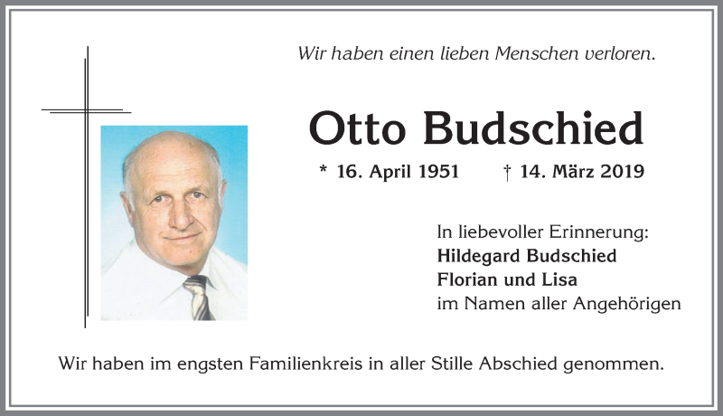 Otto Budschied * 16. April 1951 † 14. März 2019