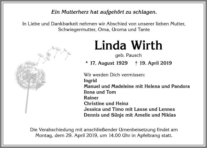 Linda Wirth * 17. August 1929 † 19. April 2019