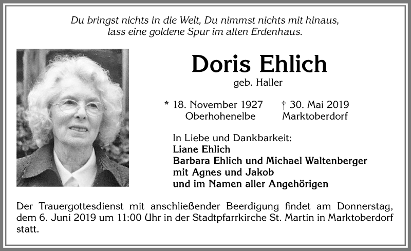 Doris Ehlich * 18. November 1927 † 30. Mai 2019
