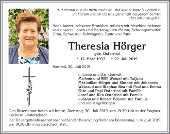 Theresia Hörger * 17. März 1937 † 27. Juli 2019