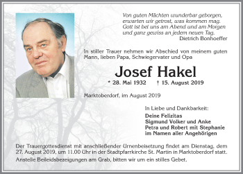 Josef Hakel * 28. Mai 1932 † 15. August 2019