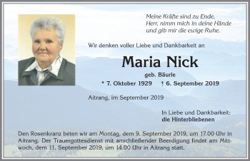 Maria Nick * 7. Okotber 1929 † 6. September 2019