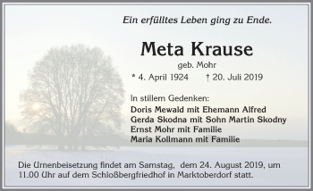 Meta Krause * 4. April 1924  † 20. Juli 2019