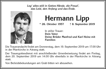 Hermann Lipp * 26. Oktober 1957 † 8. September 2019