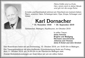 Karl Dornacher * 15. Nov. 1930 † 30. Sept. 2019
