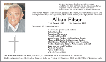 Alban Filser * 16. August 1936 † 10. November 2019