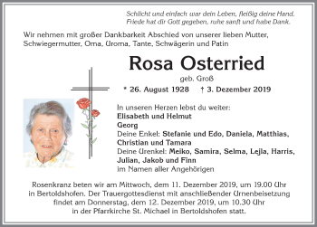 Rosa Osterried * 26. August 1928 † 3. Dezember 2019