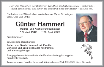 Günter Hammerl * 9. Juni 1942 † 21. April 2020