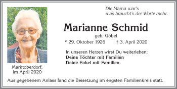 Marianne Schmid * 29. Oktober 1926 † 3. April 2020