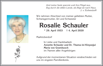 Rosalie Schauler * 29. April 1933 † 4. April 2020