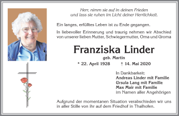 Franziska Linder * 22. April 1928 † 14. Mai 2020
