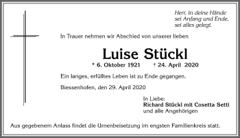 Luise Stückl * 6. Oktober 1921 † 24. April 2020