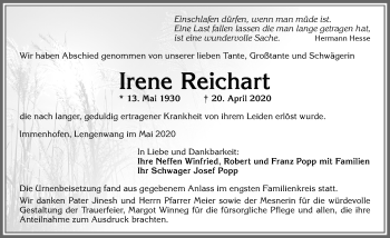 Irene Reichart * 13.Mai 1930 † 20. April 2020