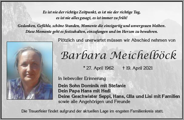 Barbara Meichelböck * 27. April 1962 † 19. April 2021